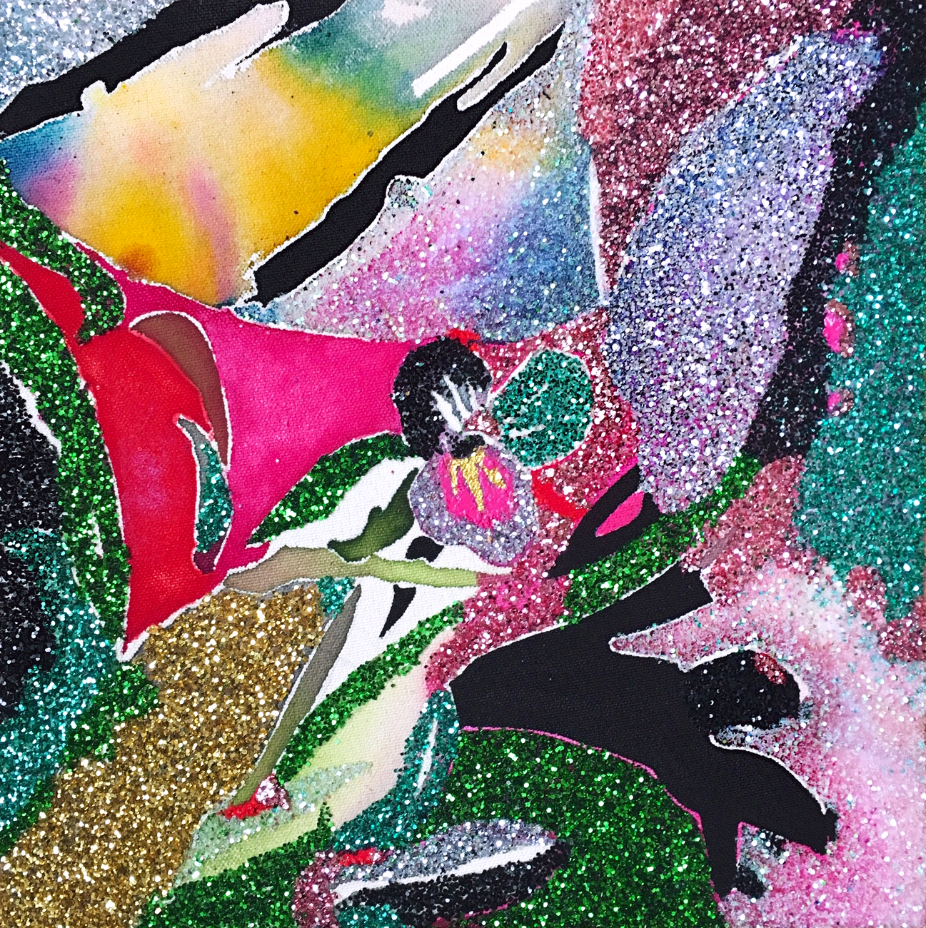 SOLD       Untitled  ,  2019 ,  fluid acrylic, glitter, nail-polish on canvas