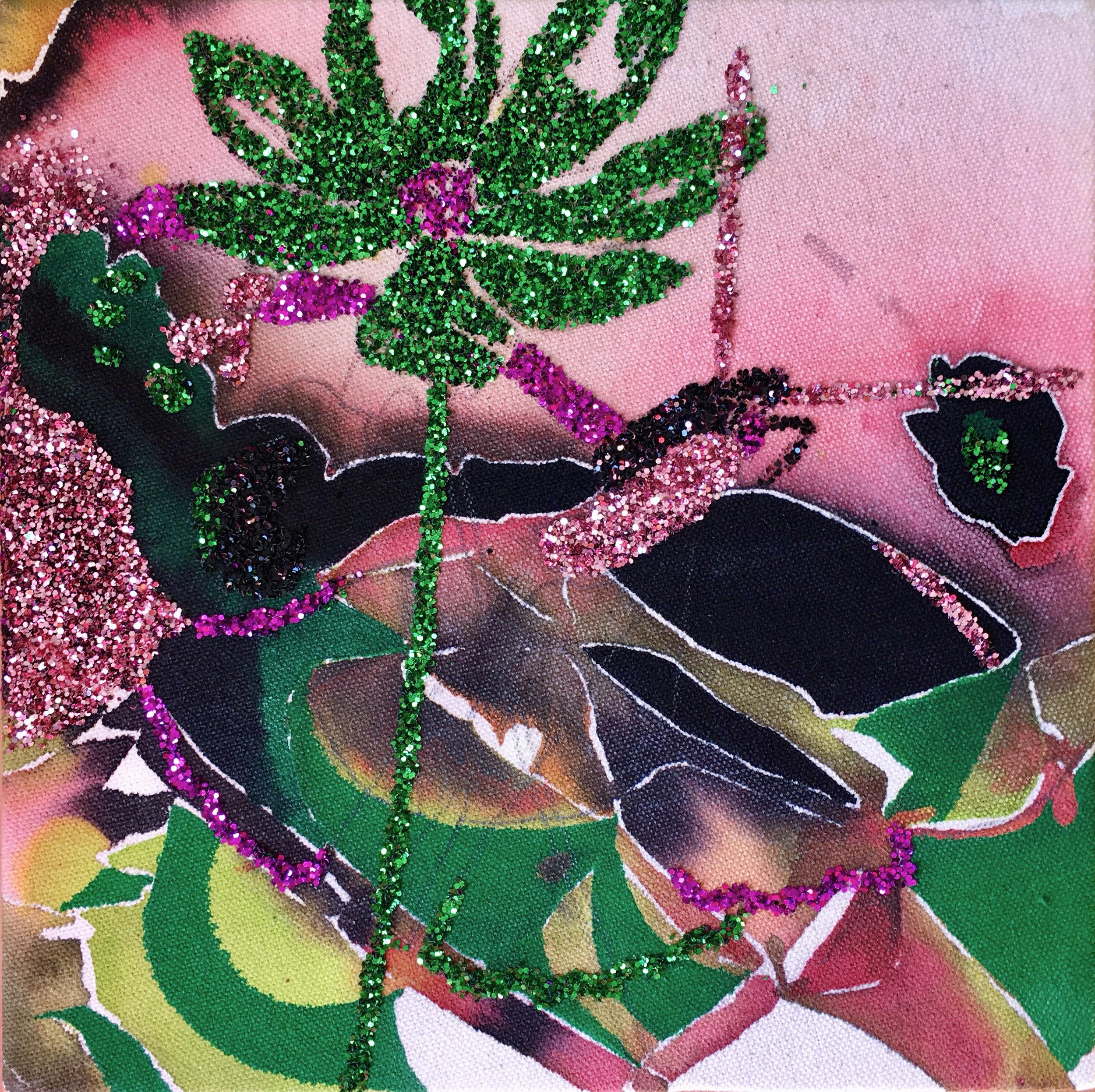 Untitled,  2019, fluid acrylic and glitter on canvas