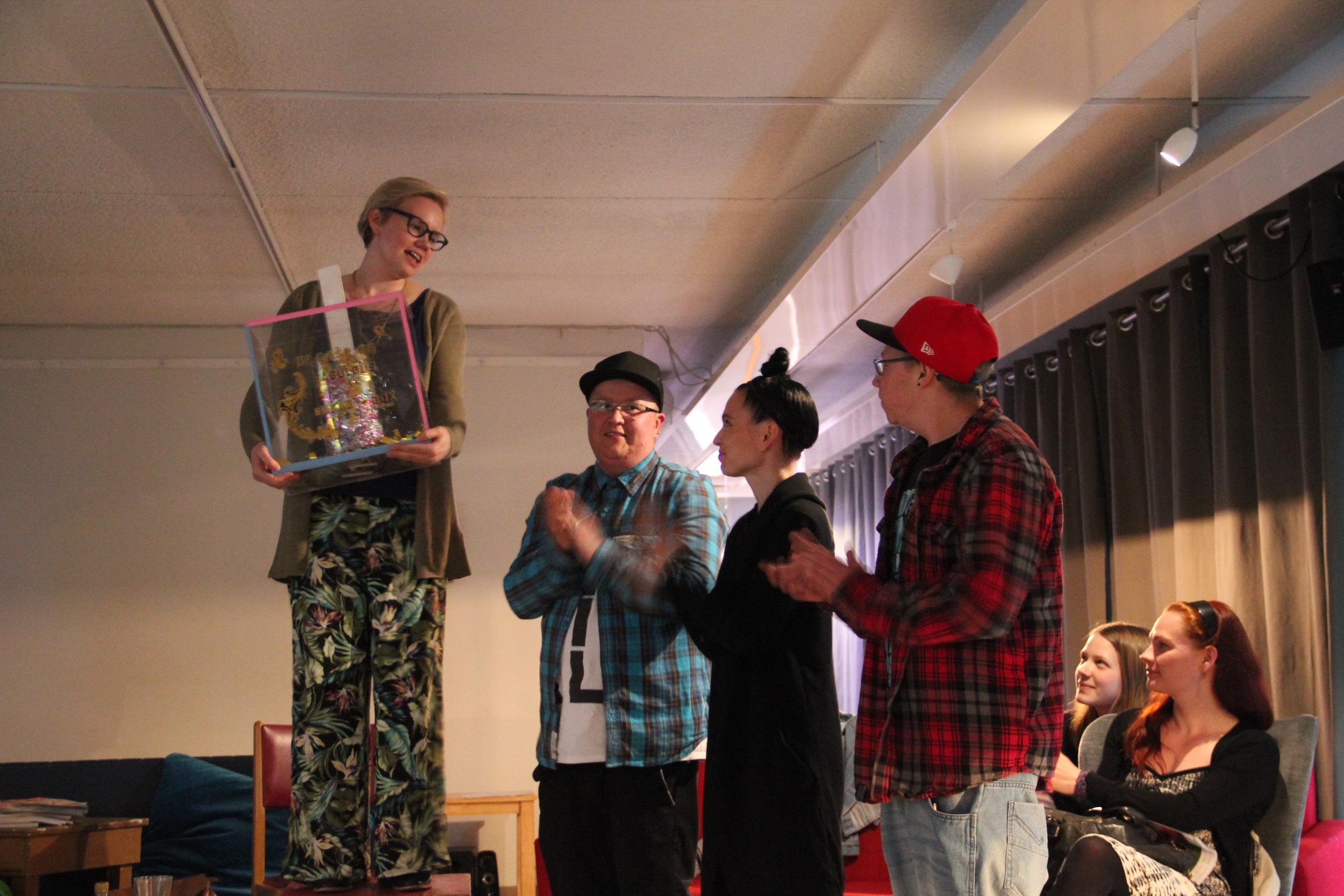 Transforces gave the In Case Of Fabulous - Break The Box piece to Hki Pride's fabulous Minna Kalenius, 2015