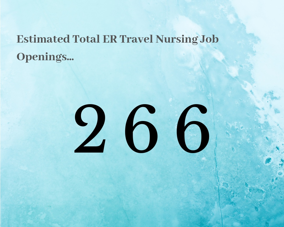 What this means for ER Travel Nures… - The market is WARM for our Emergency Room Travel Nurses. Out of all the travel nursing jobs, there are approximately 266 ER Travel Nursing positions up for grabs this summer. You've got options, but prepare to be flexible!