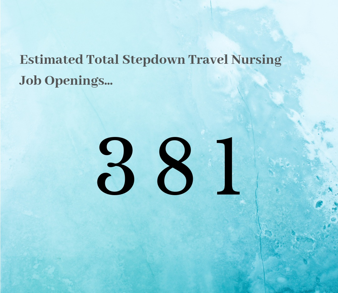 What this means for Step Down Travel Nurses… - The job market for Step Down Travel Nurses is warming back up. It's just about hot in here! Out of all the traveling nursing jobs out there, there are roughly 381 Step Down travel jobs available in this specialty. This means jump in, but prepare to be flexible since the fluctuation is real!