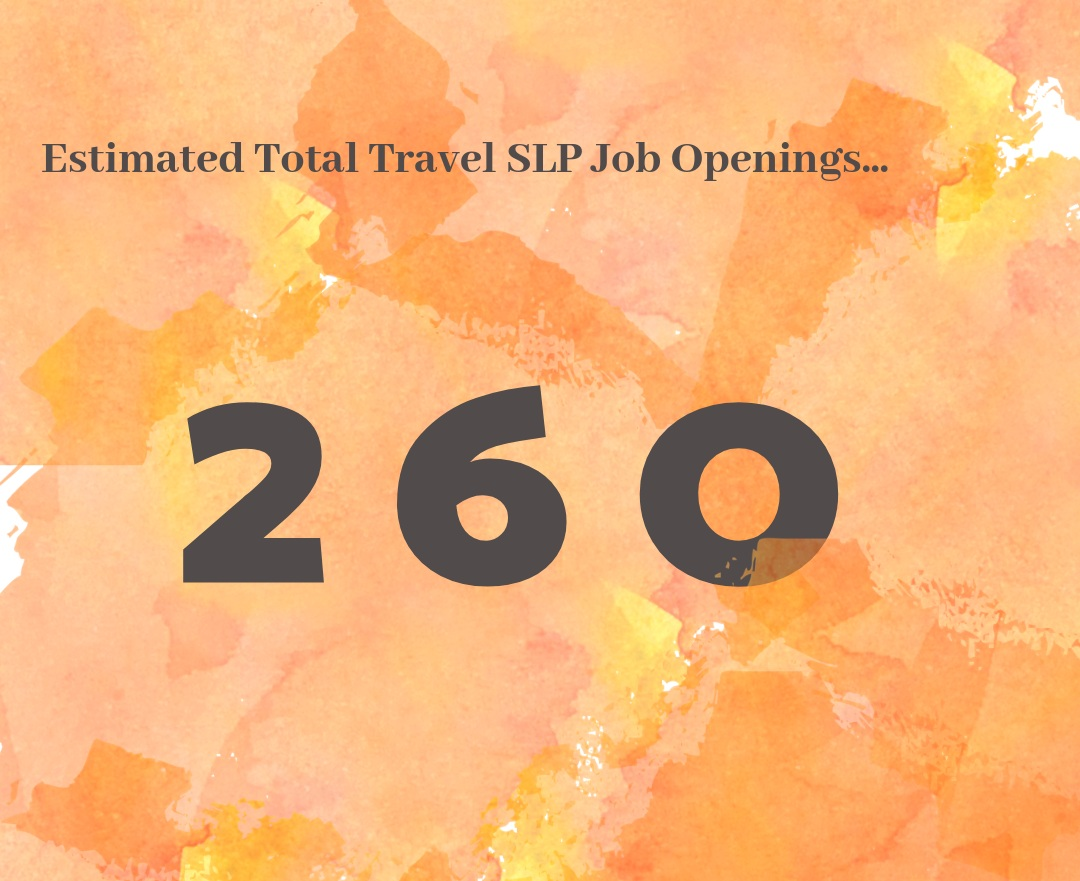 What this means for Travel SLPs… - Traveling SLPs, it's getting HOT in here! 🌞 We've seen the ebb and flow of traveling SLP positions, but there seem to be quite a few openings in almost every state. The time is now for our travel SLPs, dive right in!