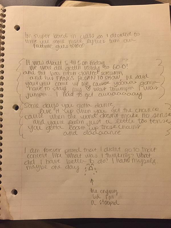 Notebook of DCX lyrics that Sam and Maggie used to pass around.