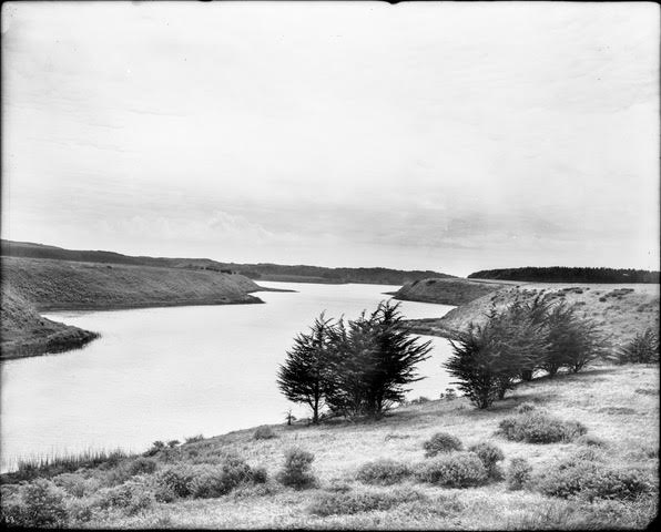 Lake Merced looking west, 1910c. Image from original glass negative. Willard Worden photographer.