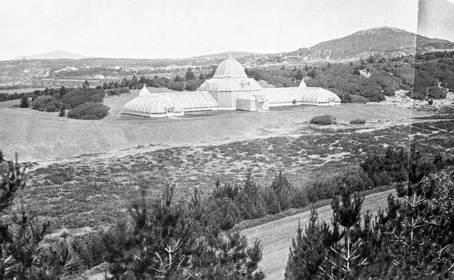 Conservatory after completion, 1879. Oak Woodlands, Lone Mountain and Odd Fellows Cemetery in background. Image from 35mm copy negative. Isaiah Taber photographer.