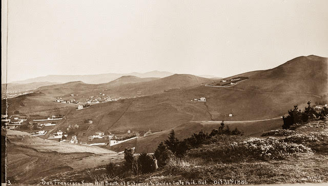 View from the summit of Buena Vista Park looking south to Eureka Valley with Twin Peaks and Corbett Road on the right, 1886. Image from 35mm copy negative. Charles Turrill Photographer.