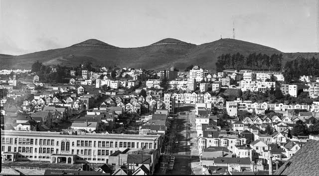 Twin Peaks from Dolores Heights, 1953. Image from original acetate negative.