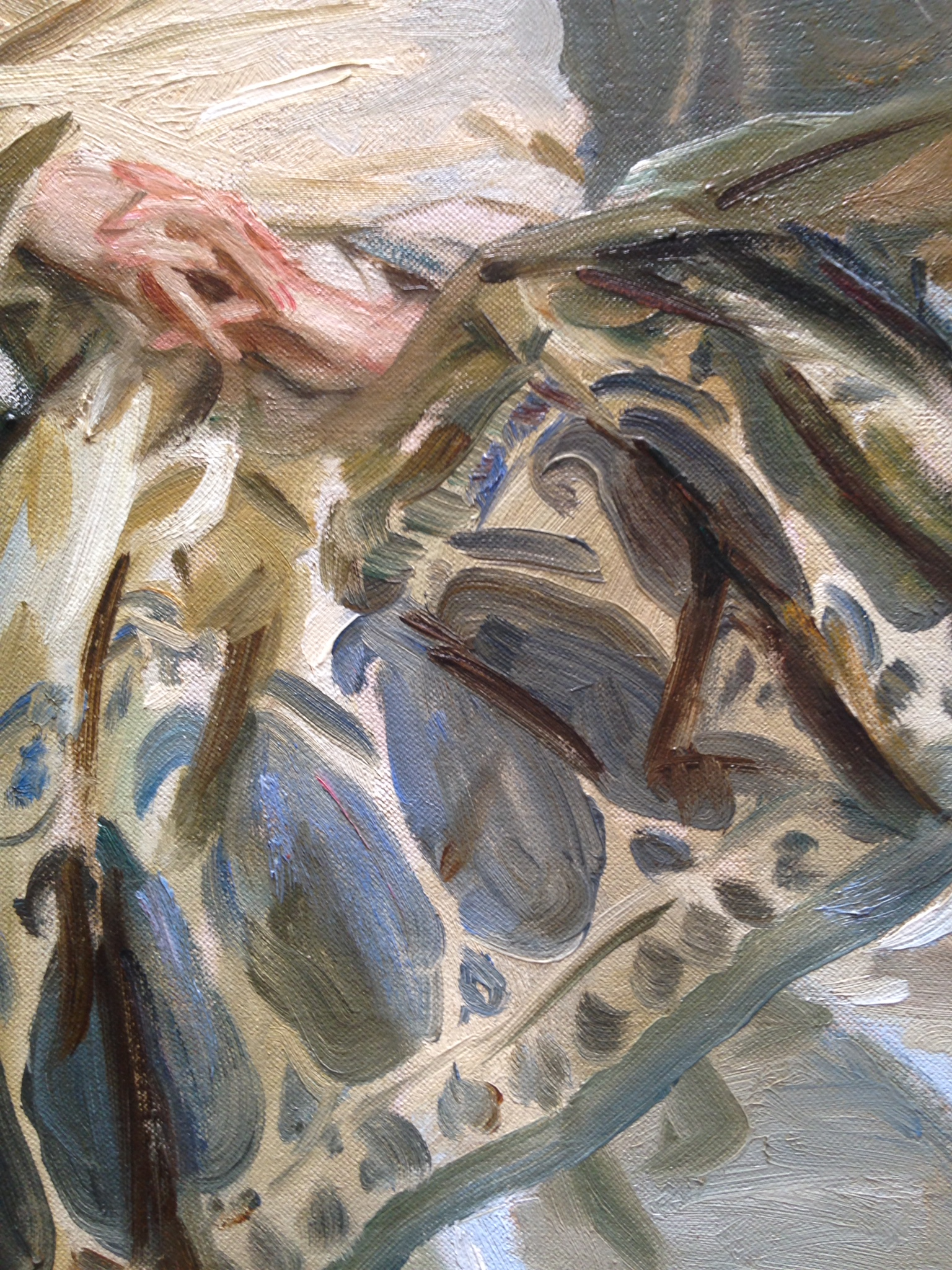 "The pattern on this skirt is beautifully painted. You can tell by the hands it's a Sargent... detail of John Singer Sargent's ""Repose"""