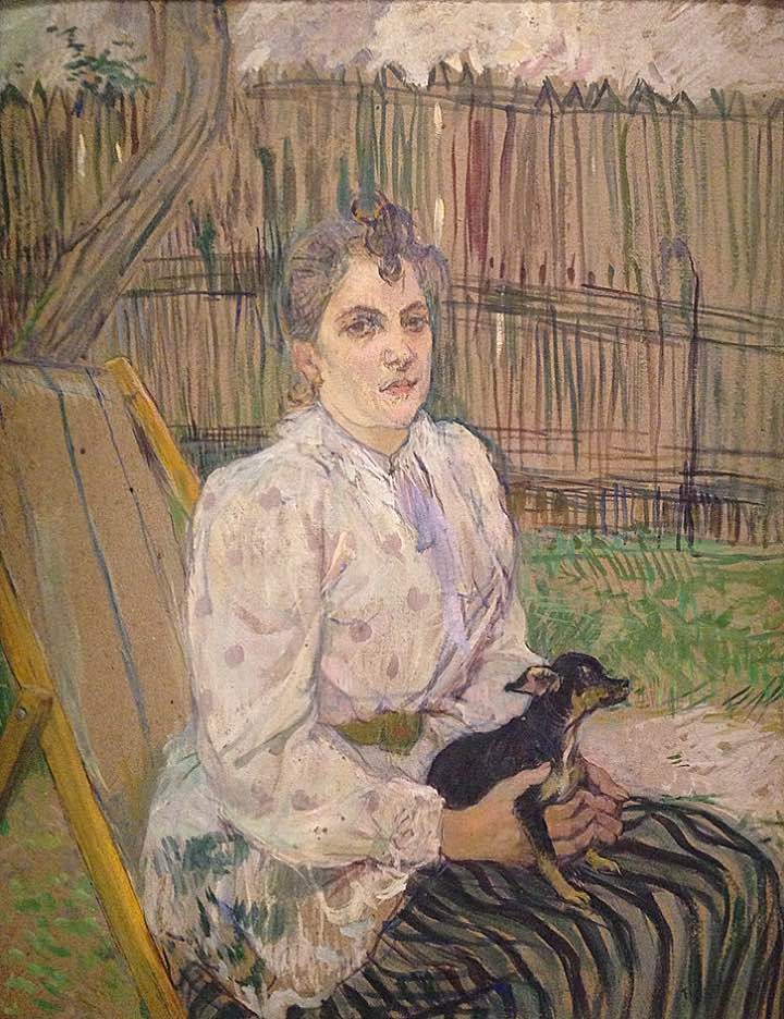 This modern looking painting is actually a Henri de Toulouse-Lautrec, painted on cardboard.  The skirt, the fence and shirt are all full of simplified marks.