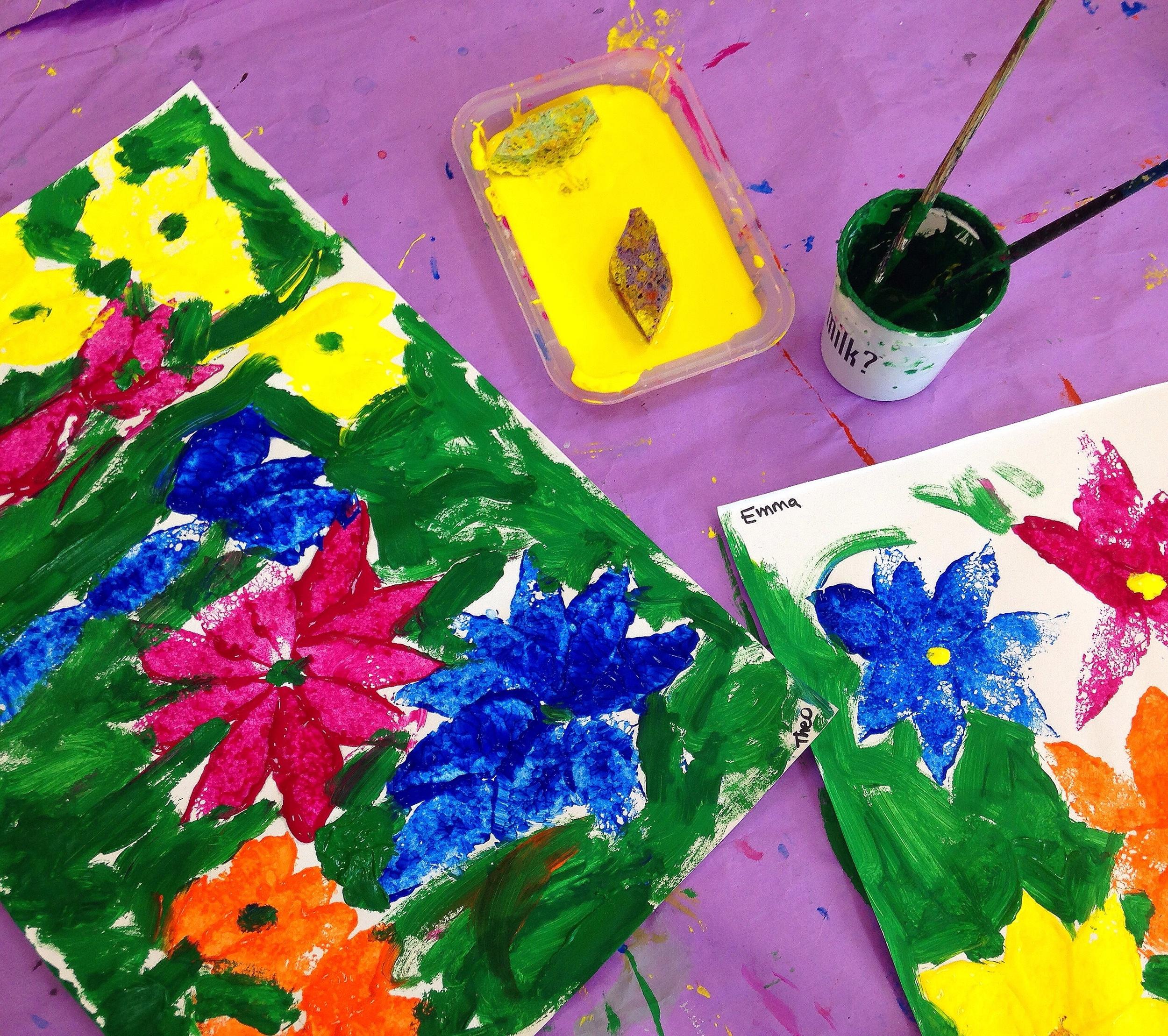 Painting a flower garden.