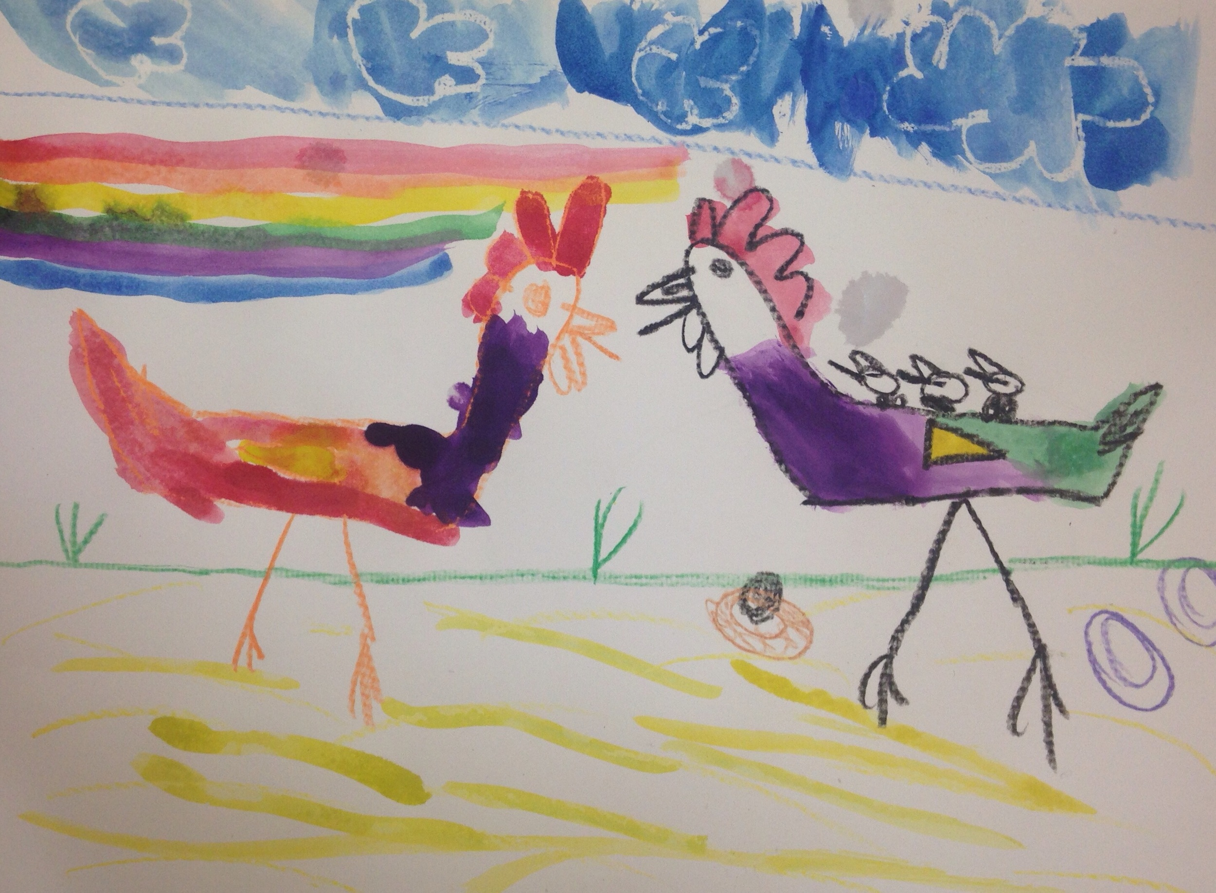 These chickens are somewhere over the rainbow. One chicken is even carrying her chicks on her back!