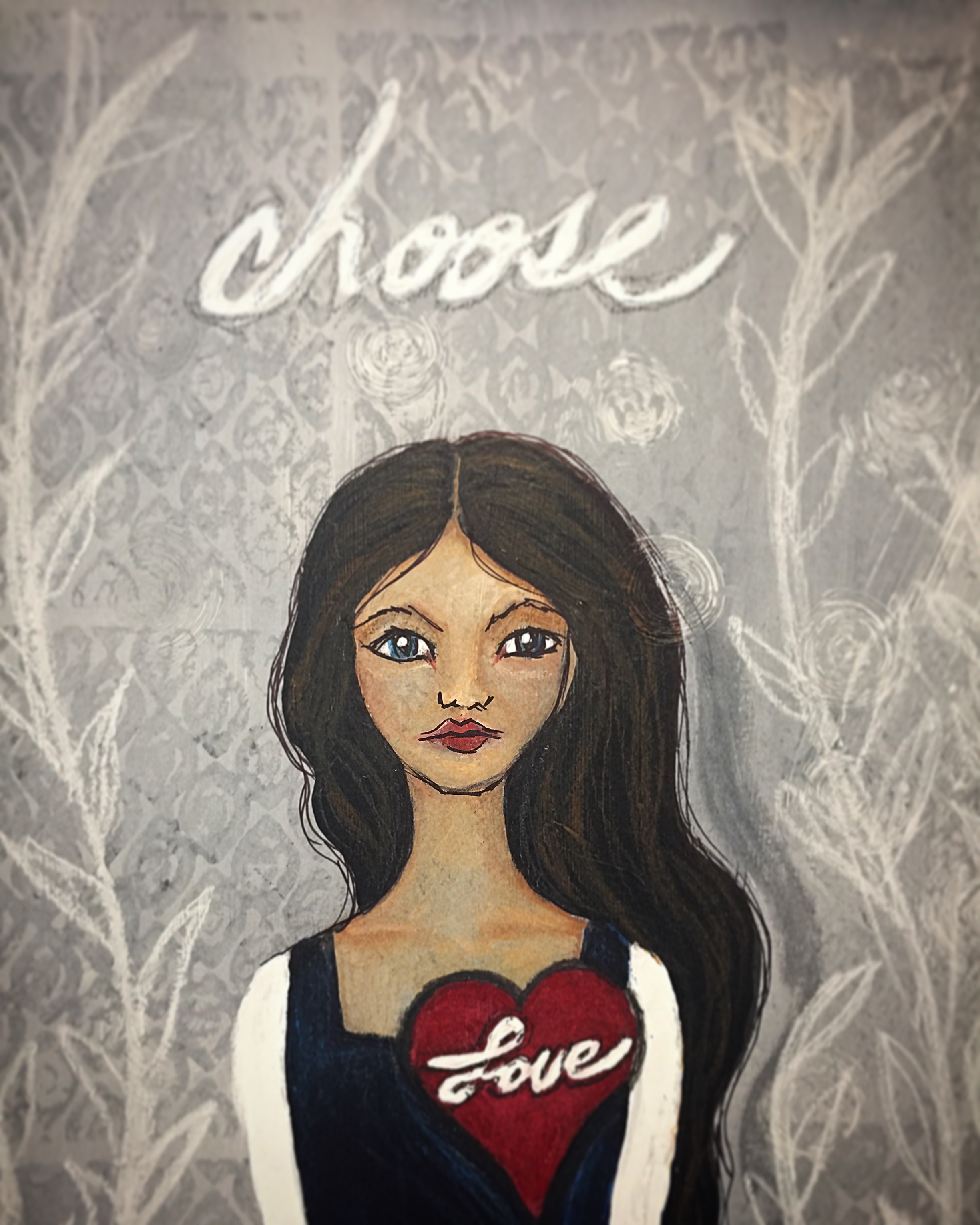 "Choose Love, 9x12"" mixed media"