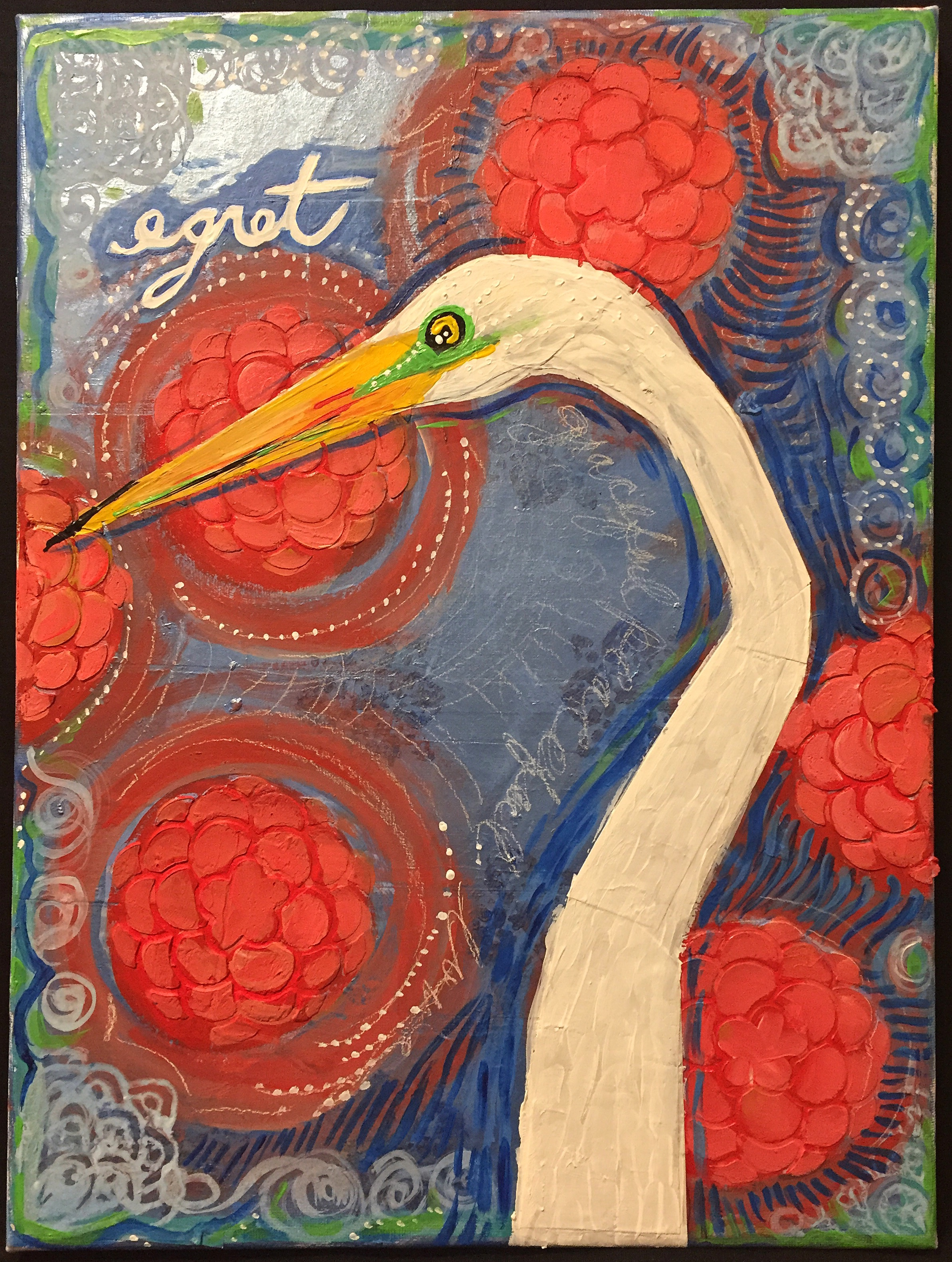 "Egret, 11.25 x 14.75"", mixed media"