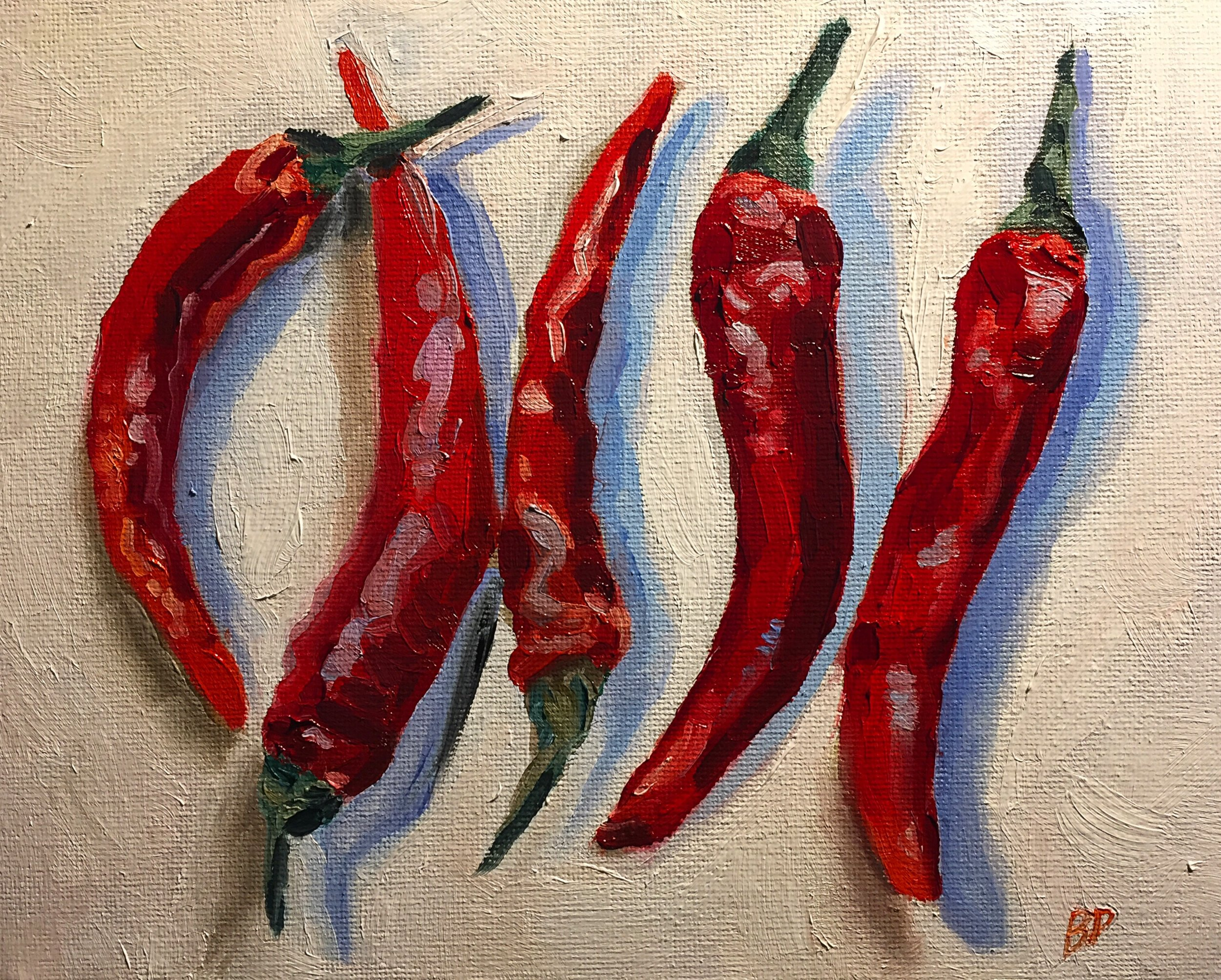 "Four Peppers, 9.5 x 7"", oil on canvas"