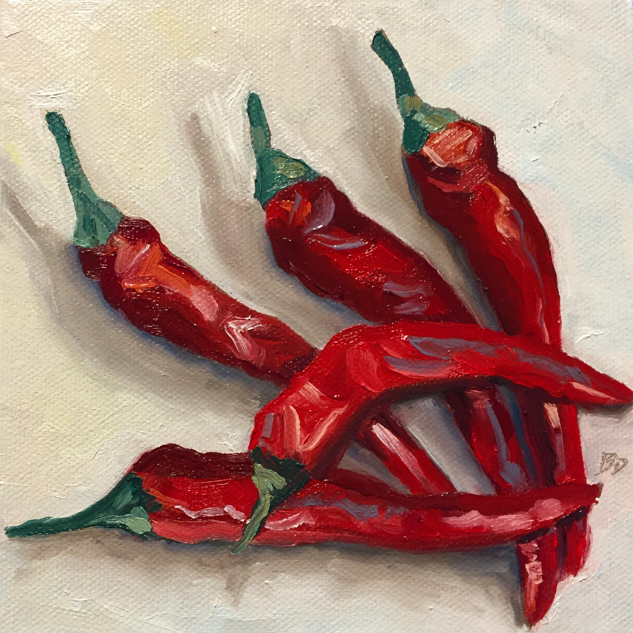 Chili Peppers, 6x6, oil on canvas