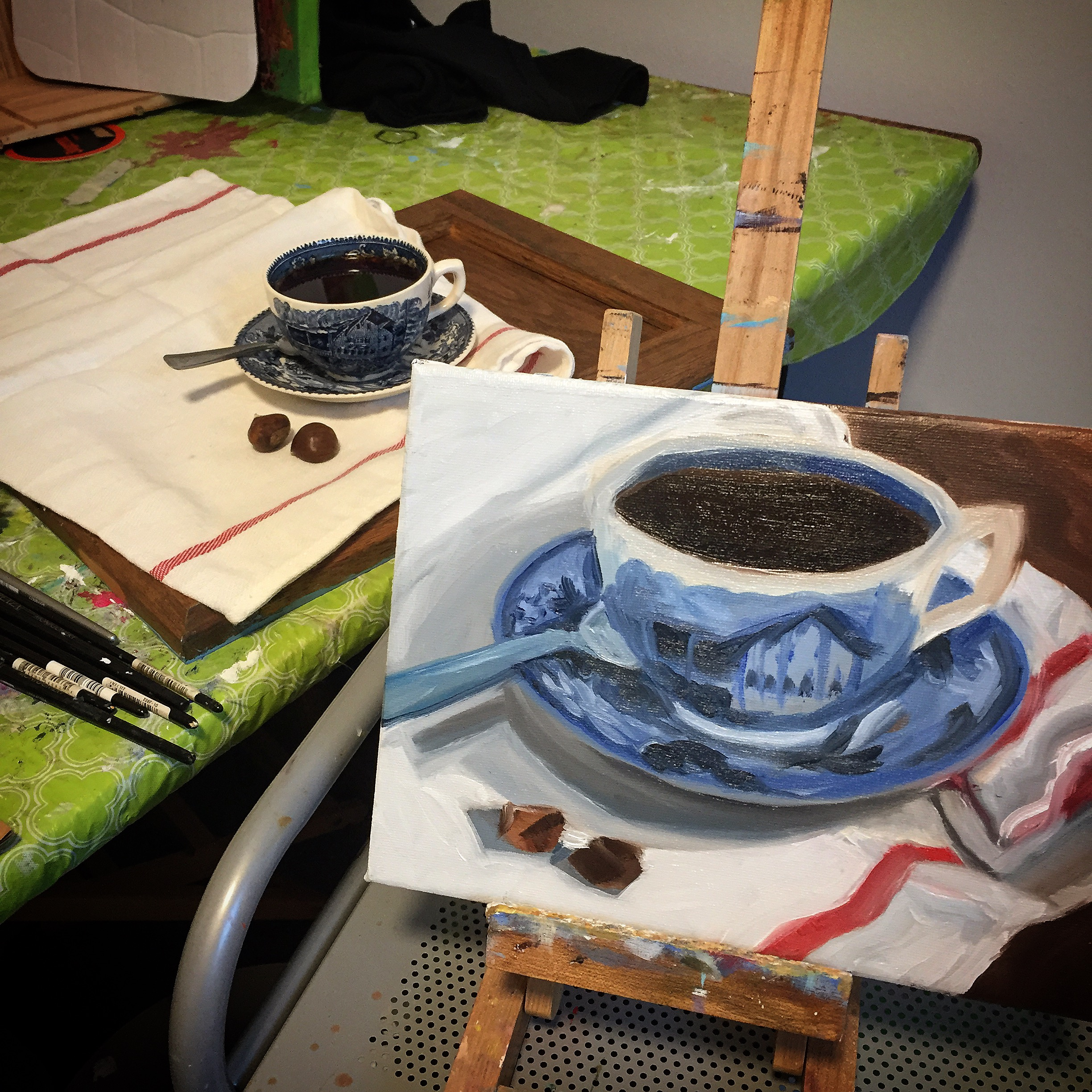 Coffee cup with chestnuts, day 1