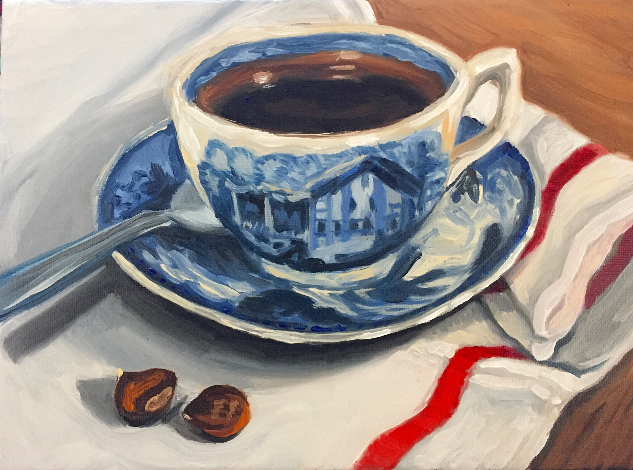 Coffe Cup and Chestnuts, oil on canvas