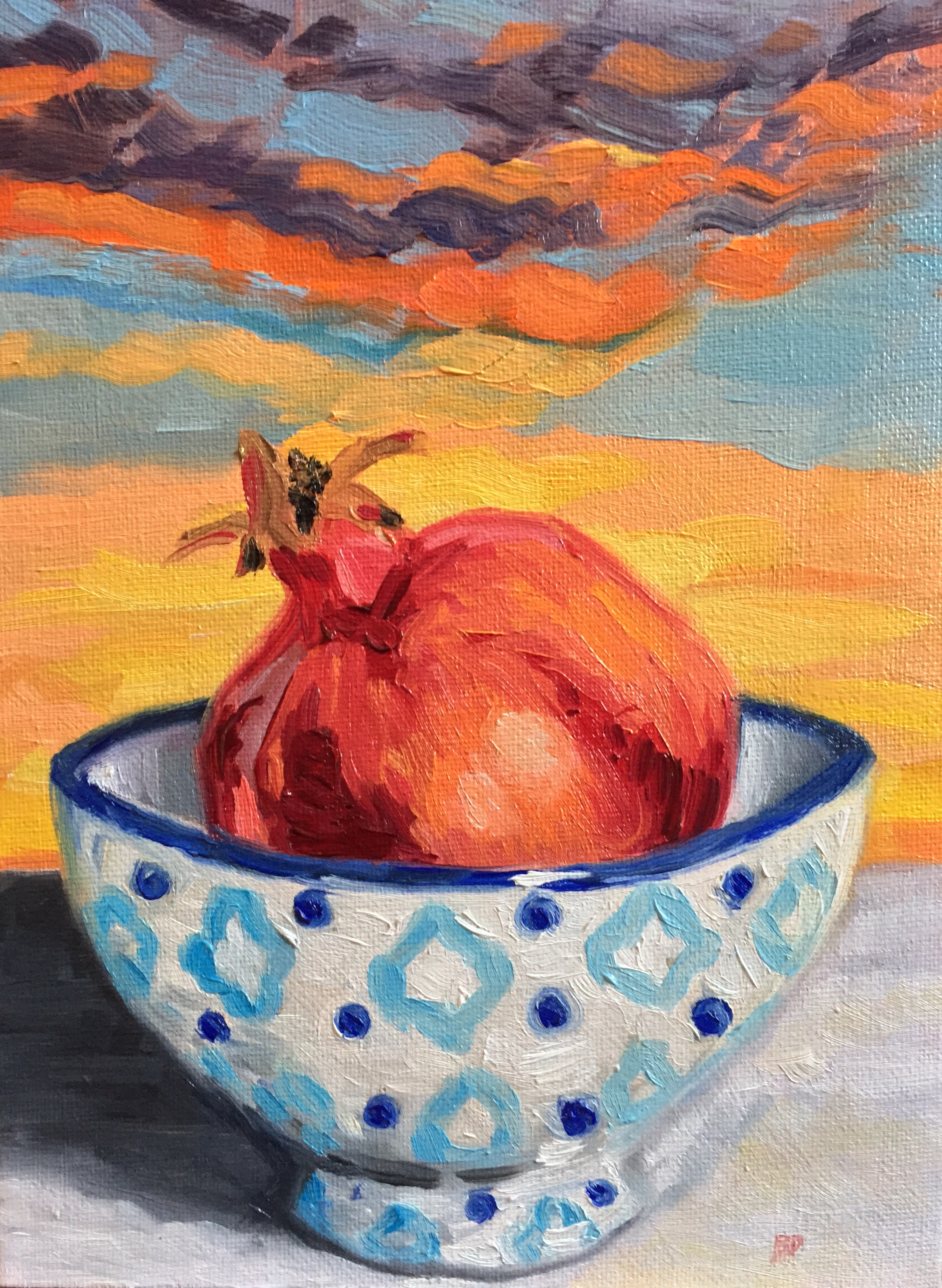 "Pomegranate At Sunset, 9.5"" x7"", oil on canvas"
