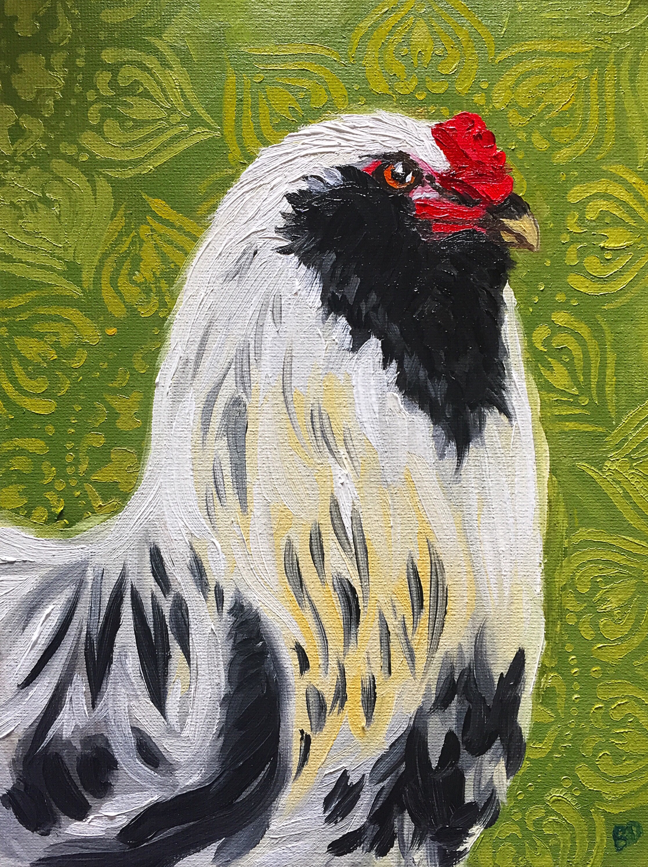 """Sacred Heart Rooster, 9.5"""" x 7"""", oil on canvas,   PURCHASE HERE"""