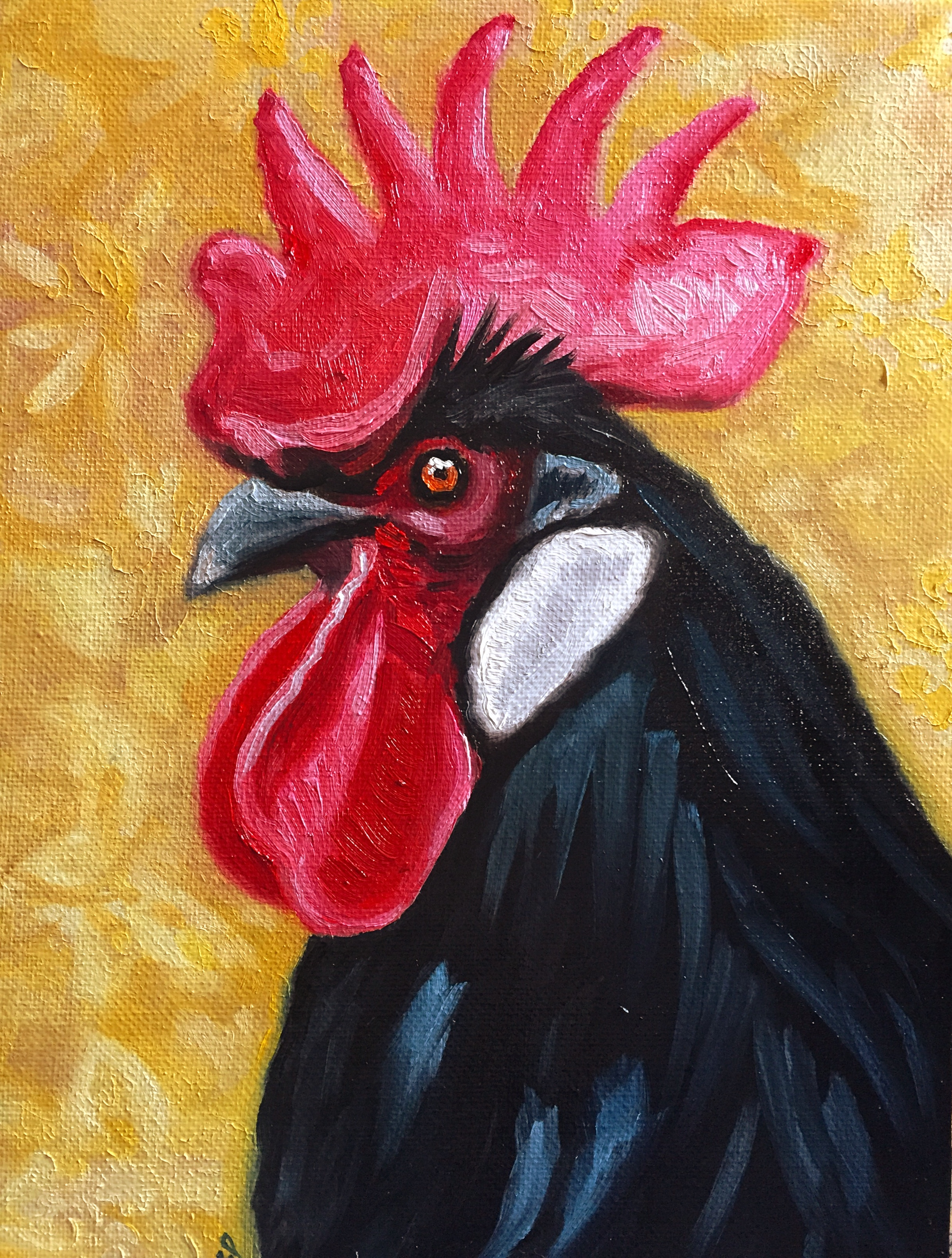 """Black Rooster, 9.5"""" x 7"""", oil on canvas  PURCHASE HERE"""