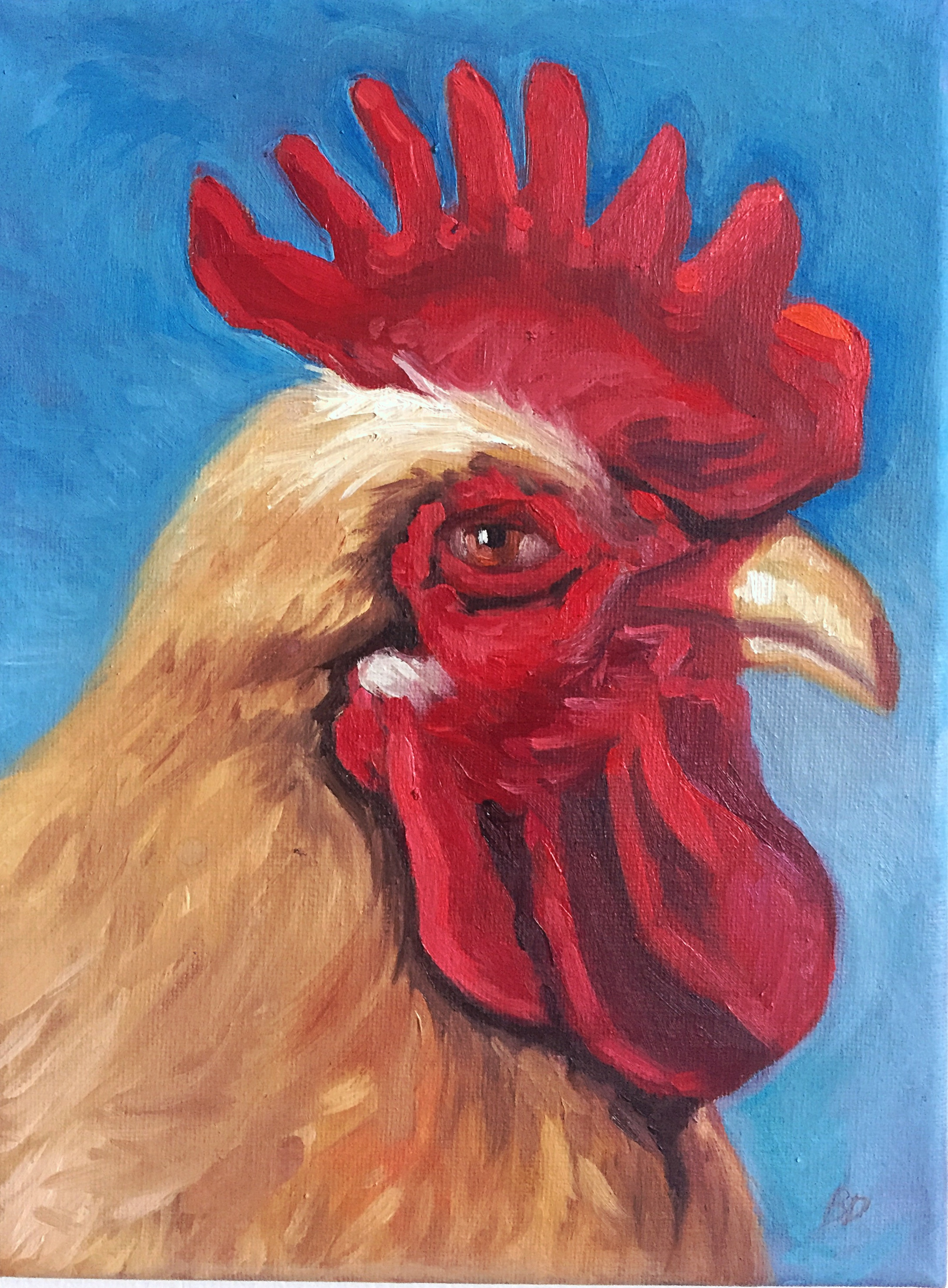 """Tan Rooster, 9.5"""" x 7"""", oil on canvas  PURCHASE HERE"""