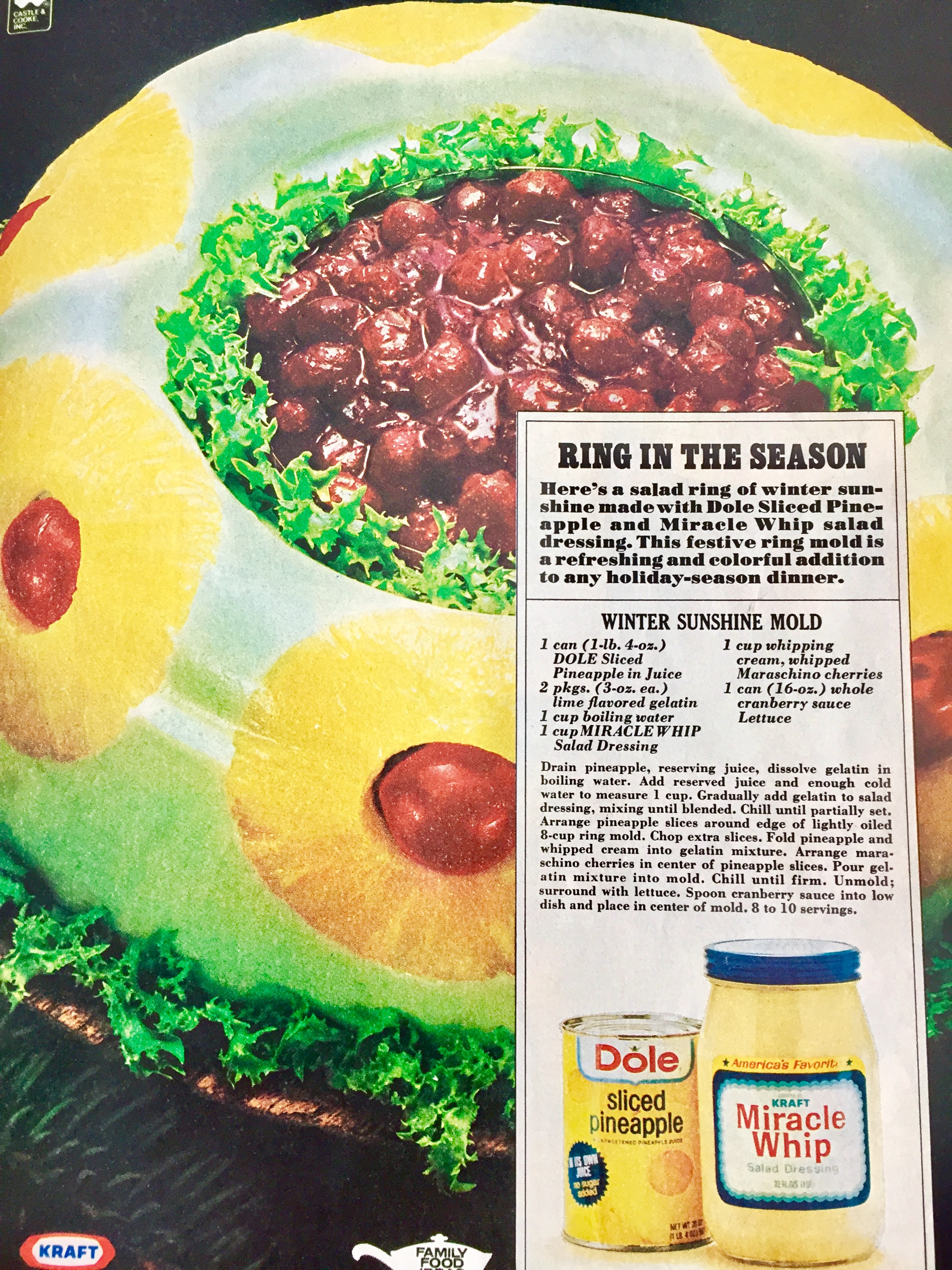 "BLOG BONUS: Here's a nostalgic 1970's recipe for you. (Now days we just don't use enough ""molds"" in our ""salads."")"