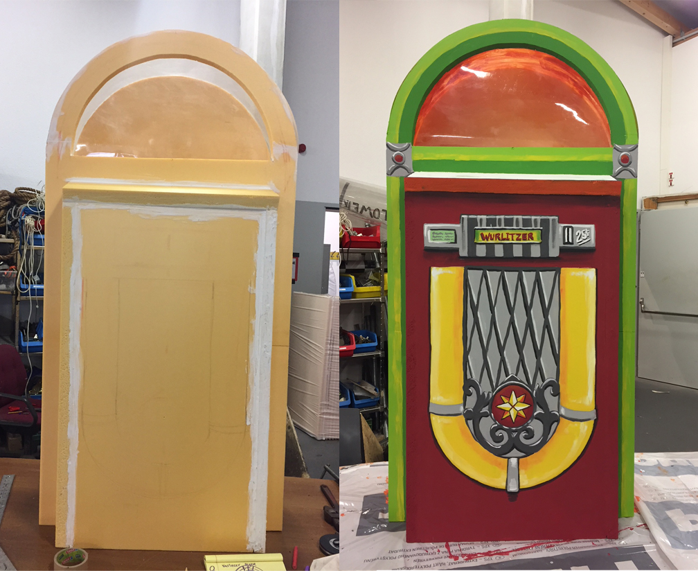 Styrofoam Jukebox before & after
