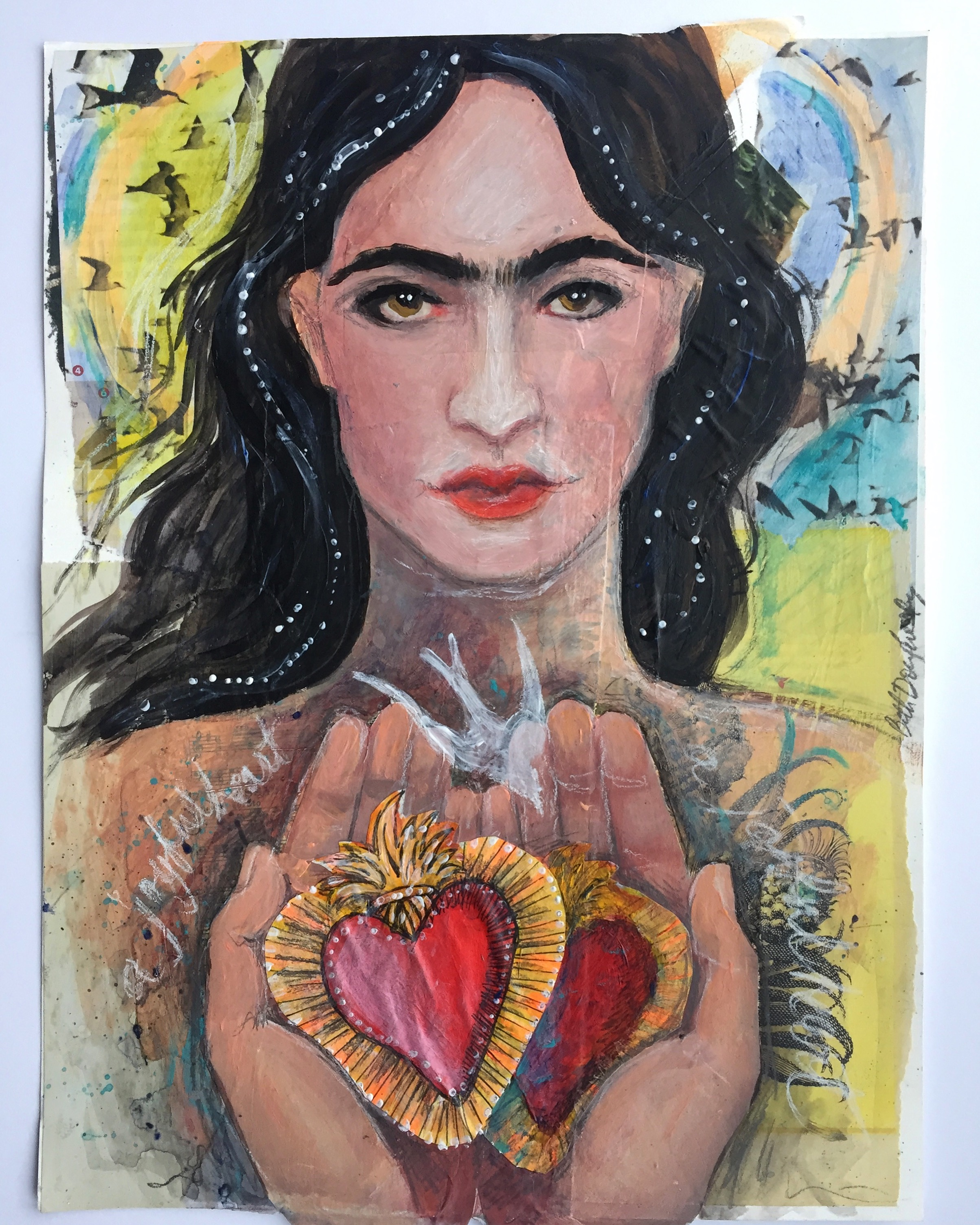 "Sacred Heart of Frida, 9x12"", mixed media on paper. Beth Dougherty"