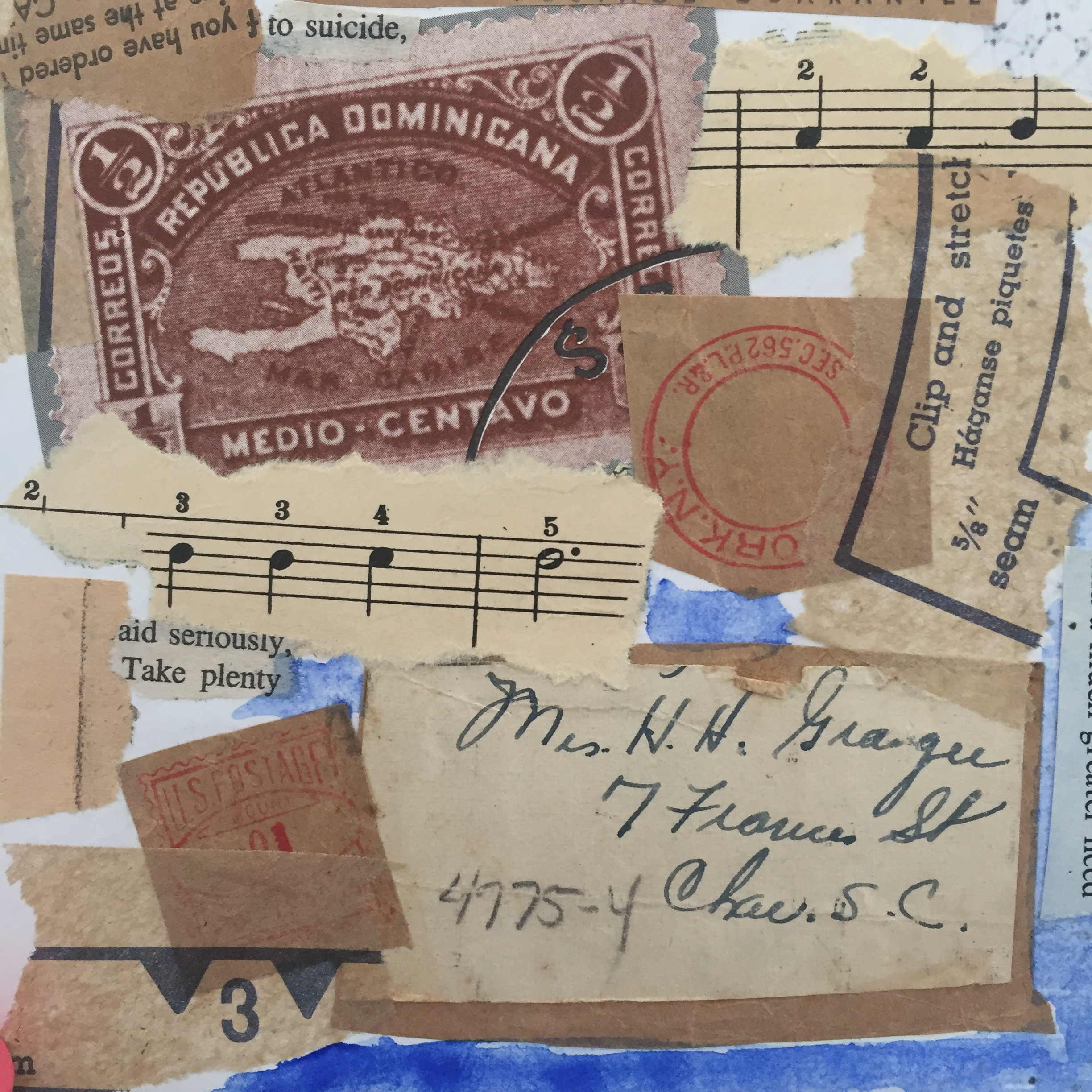 Images from books, old patterns, handwritten notes, sheet music and book pages can all make interesting collages.