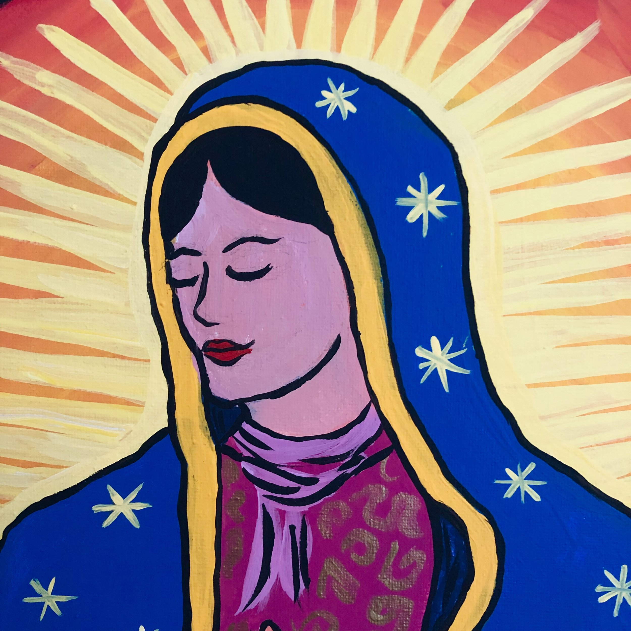 "Detail of Nuestra Señora de Guadalupe ""Our Lady of Guadalupe"" mixed media, Beth Dougherty"