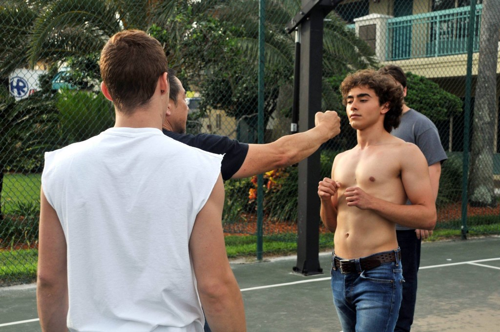 James Lew working with star Jansen Panettiere for a fight scene