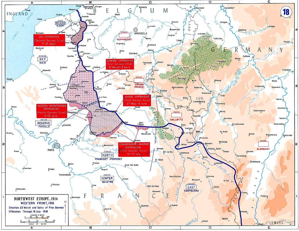 The German Spring Offensive was made possible in 1918 due to the collapse of Russia, but German high command knew they had precious little time to make their weight in numbers felt, so a breathtaking offensive was launching, sweeping up everything that the allies held dear for numerous weeks, until it finally ran out of steam and resources, much to the relief of the allies.