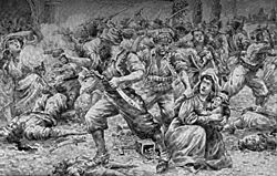 The Ottomans had a history of needlessly massacring the Armenians - here an eyewitness depicts the 1894 massacre of Armenians at Sansum.