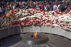 The Eternal Flame with 12 slabs commemorates the Armenian Genocide, wherein at least 1.2 million Armenians were deliberately slain.