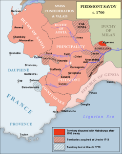 Another key front in the war, that of the North-West of Italy where the Duke of Savoy fought a losing battle against the French.