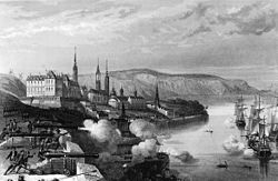 Here the guns of Quebec are painted firing at the British, an illustration of how widespread the War of the League of Augsburg became