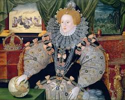 Queen Liz in her poofiest glory, as the Armada takes place outside the window, apparently...