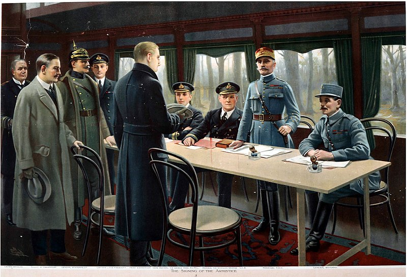 The signing of the Armistice was a process which began on 8th November with the arrival of the German delegation at Compiegne, and ended three days later, at 5.20AM on the morning of 11th November. Six hours later, the guns fell silent, but even this microcosm within the wider story tells us a great deal about what was in store for the Germans…