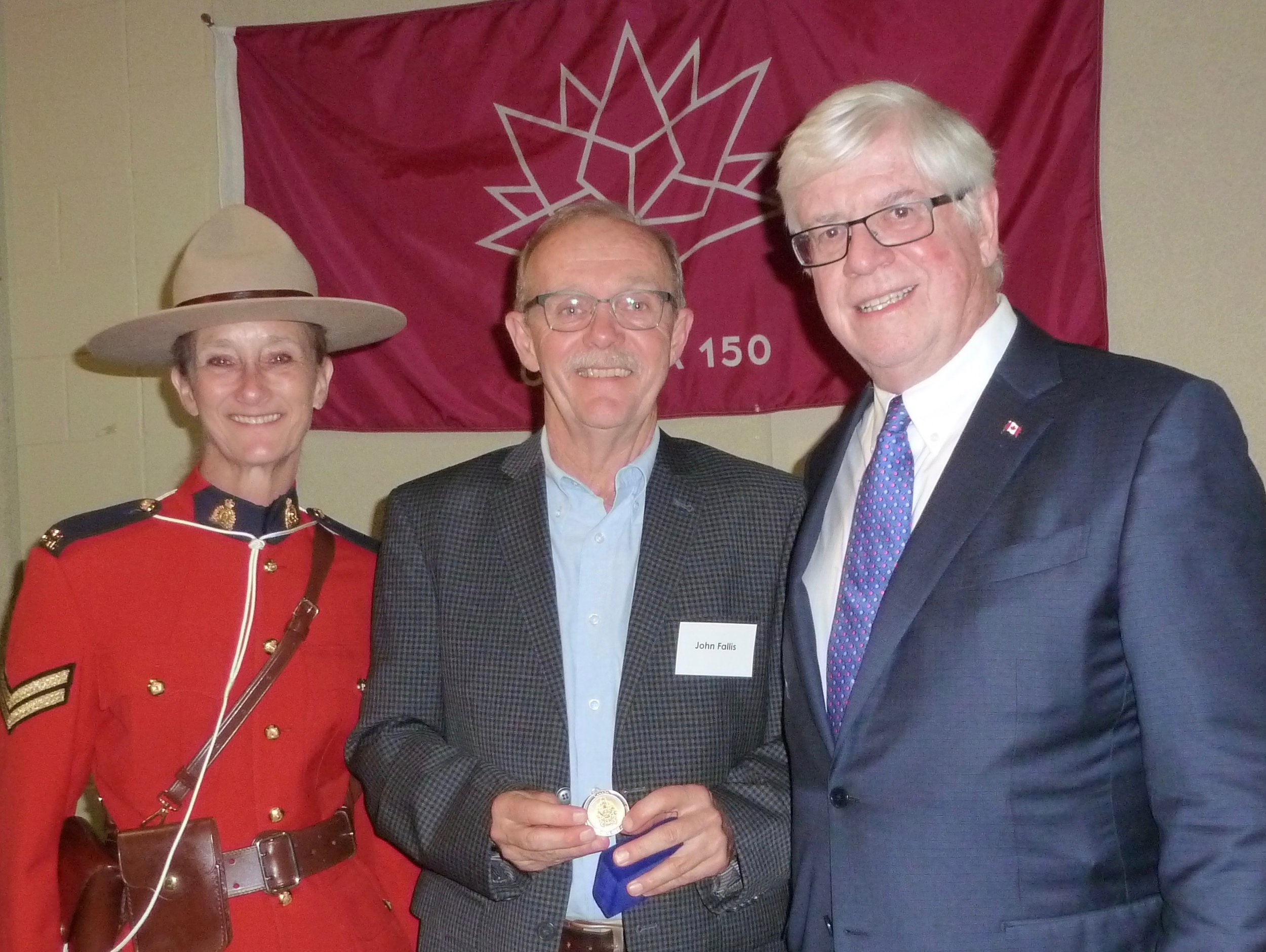 From Left: RCMP Officer Brenda Whitteron, John Fallis, David Tilson, MP