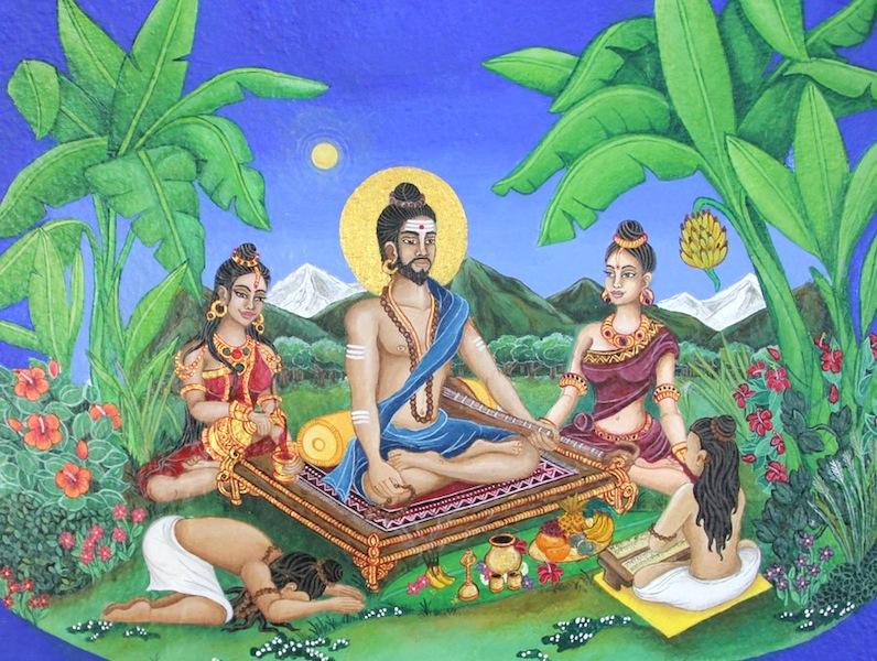 Illustration of Abhinava Gupta by Elke Avis, based on Madhurāja's 11th-century description.