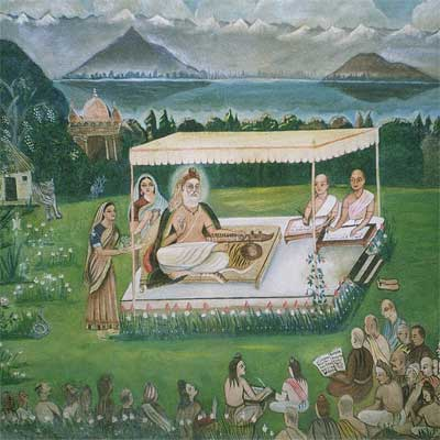 Image based on Madhurāja's description, with Dal Lake in the background.