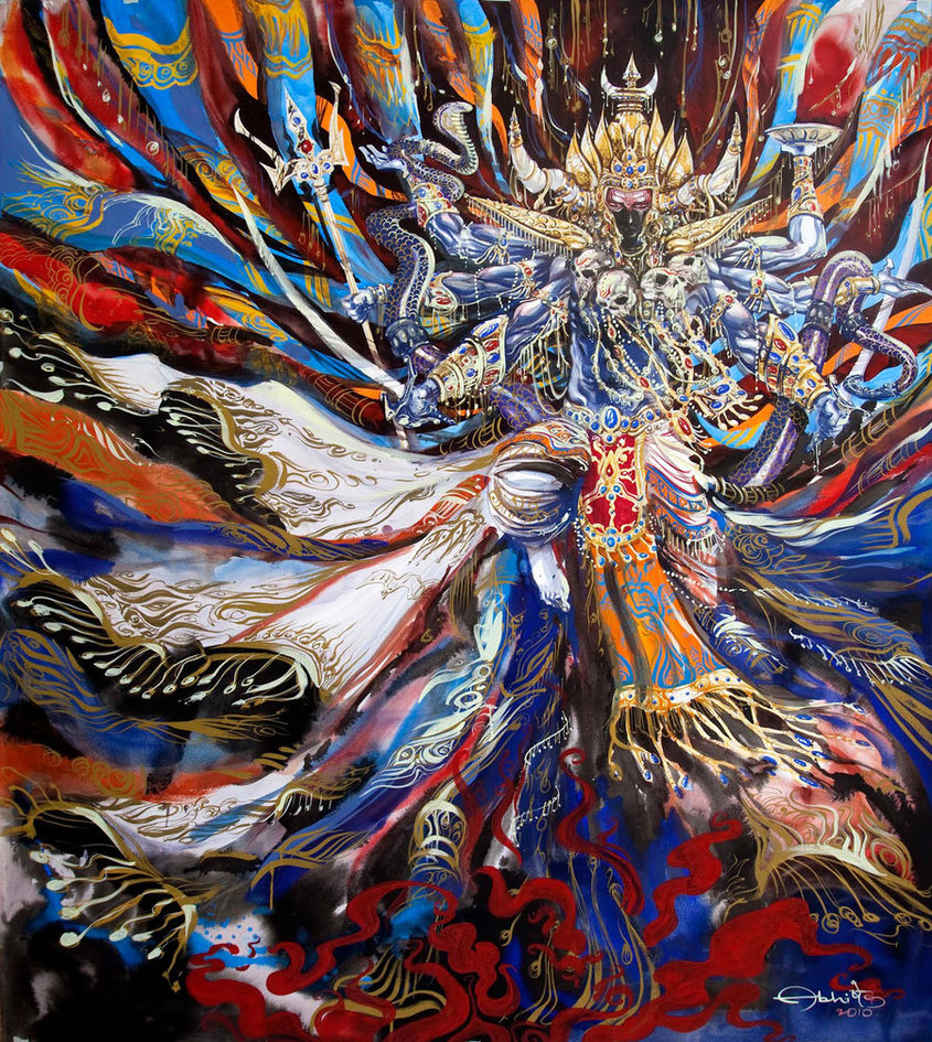A modern painting of the deity Bhairava, by Tejomaya.