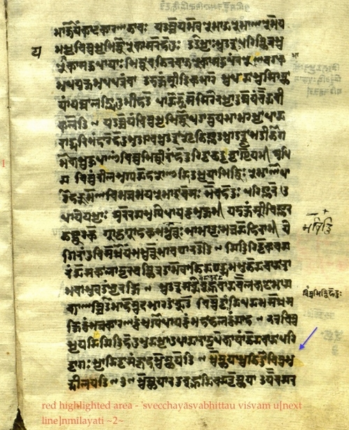 A manuscript of the Pratyabhijñā-hrdayam in Śāradā script; the arrow points out where sūtra #2 occurs. Thanks to Christopher Tompkins for the manuscript.