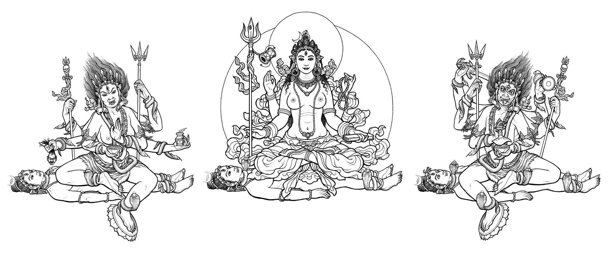 The anthropomorphized representation of the three central Powers, Parāparā, Parā, and Aparā. Art by Ekabhūmi Ellik, appearing in  Tantra Illuminated  by Christopher Wallis.