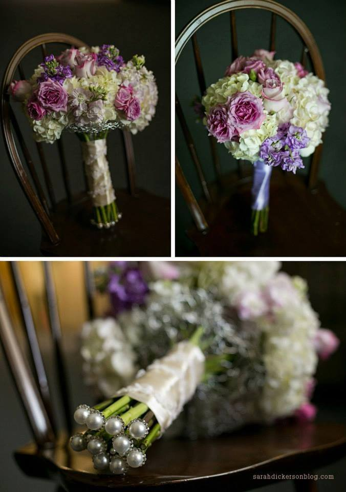 Lavender and white bouquets with hydrangea