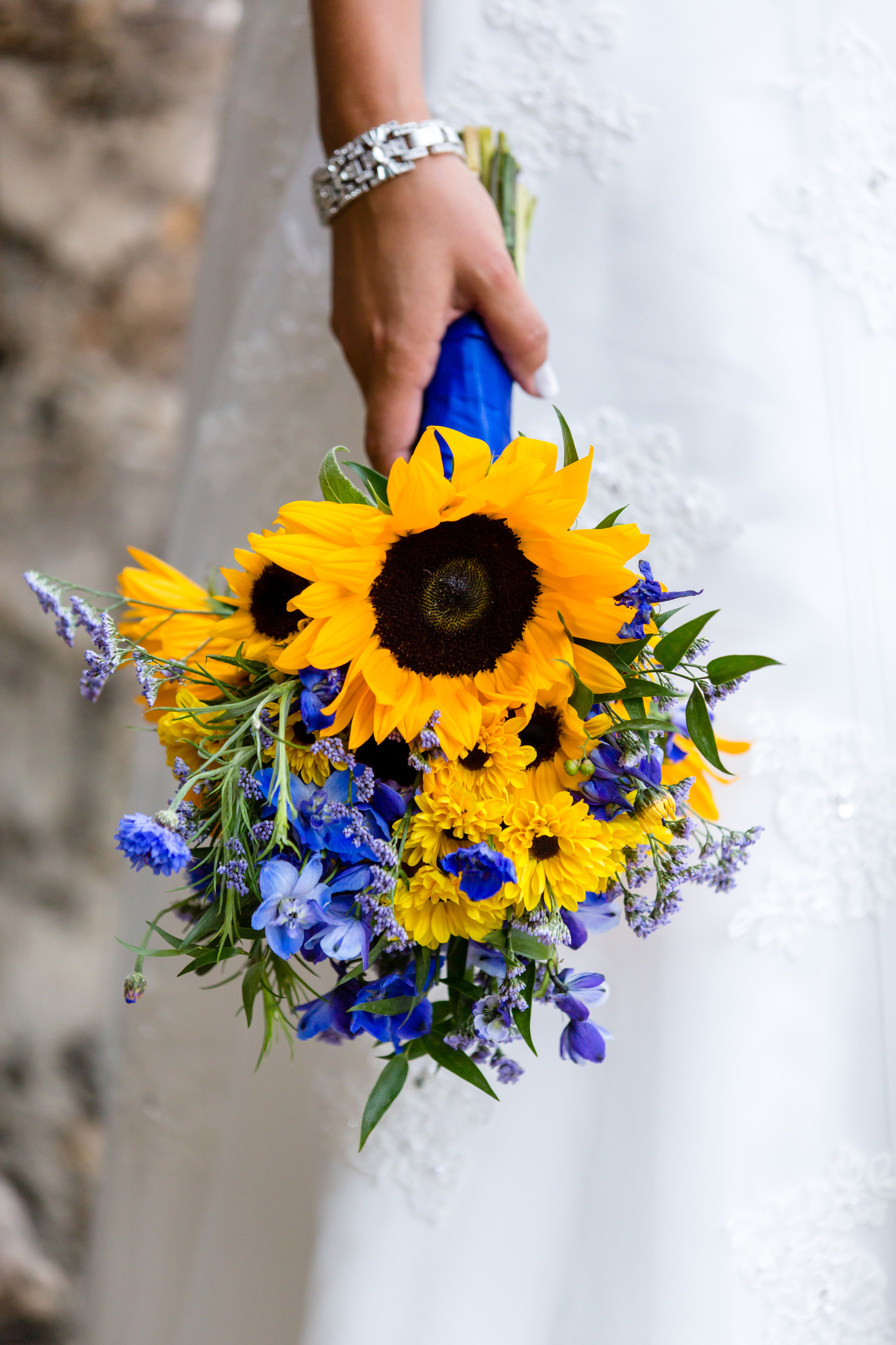 Sunflowers with blue