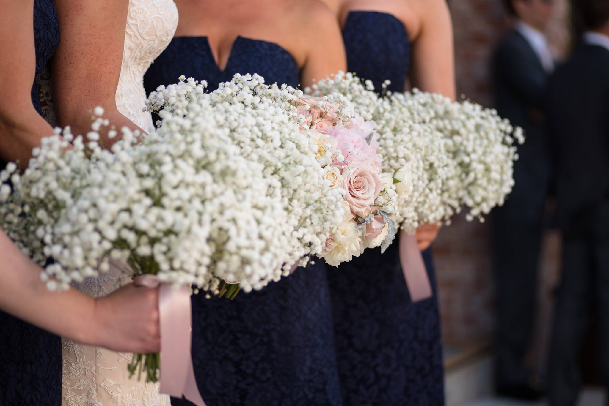 Baby's breath bouquets for bridesmaids at The Stanley Lee's Summit