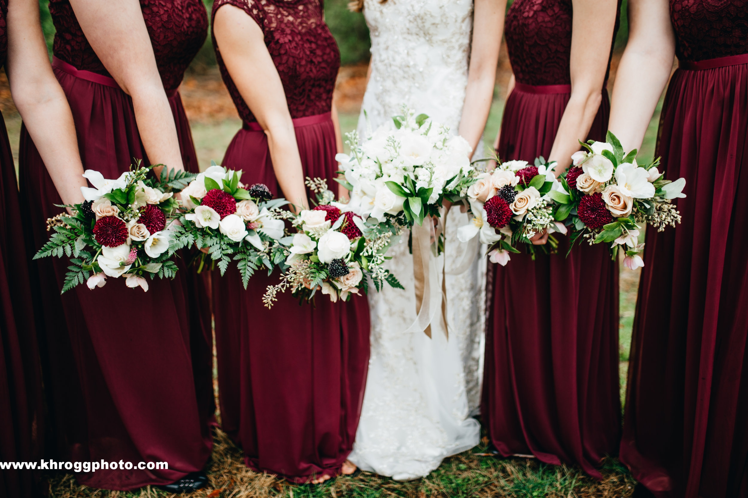 Burgundy and ivory with gold details