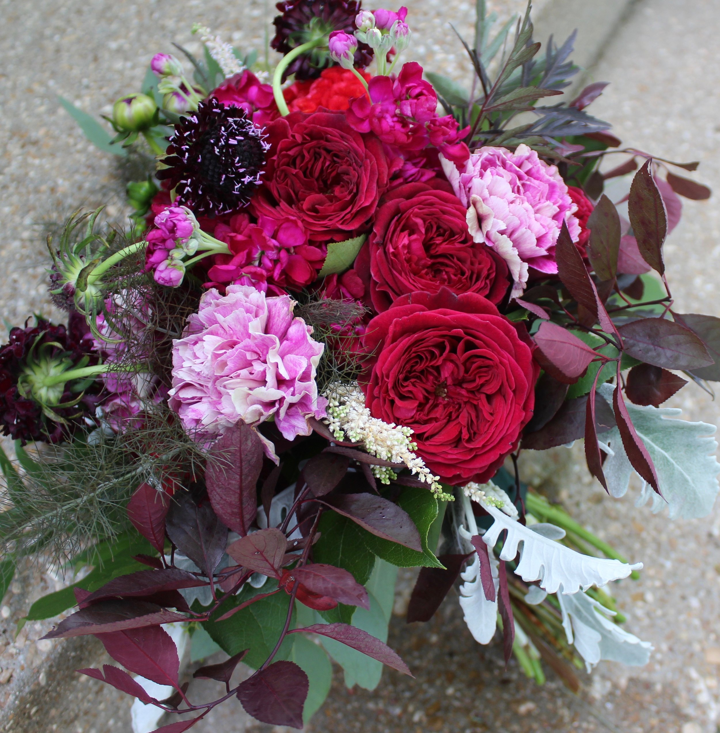 Burgundy bouquet with garden roses
