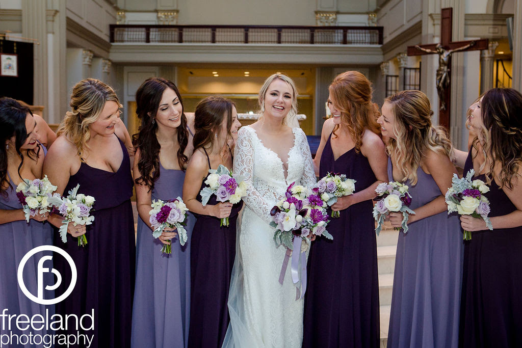 Formal wedding in mixed purples